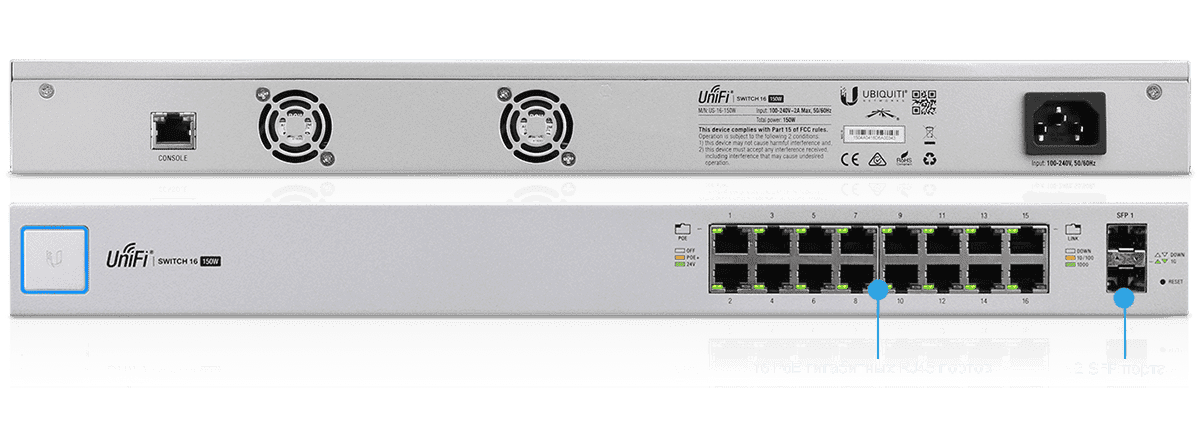 Коммутатор UniFi Switch 16-150W